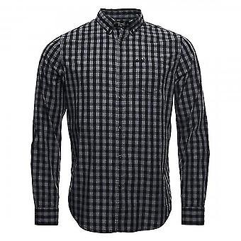 سوبردري كلاسيك لندن Gingham الاختيار L / S قميص أسود / رمادي 4CB