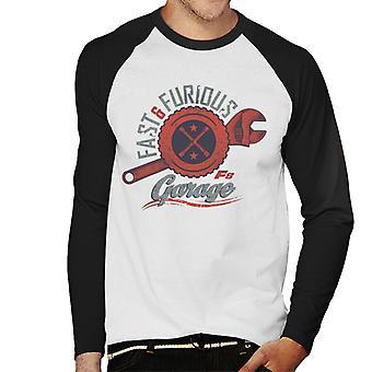 Nopea ja raivoisa 8 autotalli logo men's baseball pitkähihainen t-paita