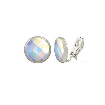Eternal Collection Symphony AB Chessboard Cut Austrian Crystal Silver Tone Stud Clip On Pendientes