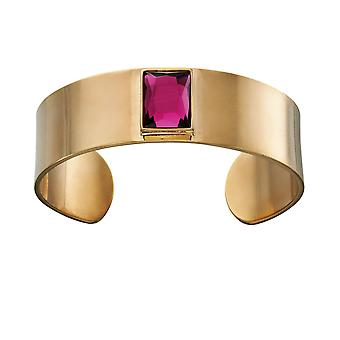 Fiorelli Mode Guldpläterad Fuschia Kristall Bangle Armband