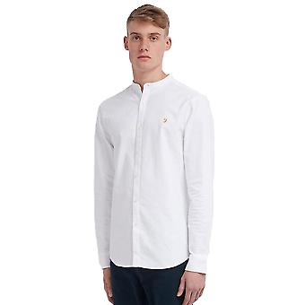 Farah Brewer Slim Fit Grandad Shirt - White