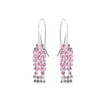 Ah! Jewellery 3cm Drop Rose Crystals From Swarovski Split Mesh Earrings, Easy To Use Sterling Silver Fish Hooks, Stamped 925.