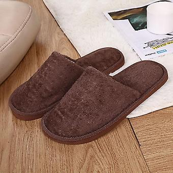 Men Cotton Home Slippers Winter Warm Plush Indoor Shoes