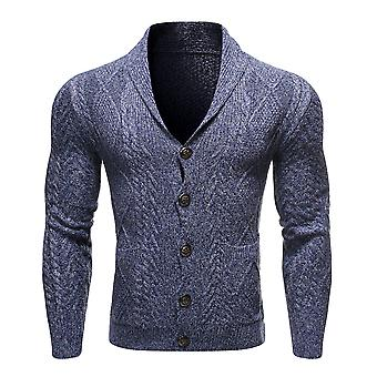 Yunyun Men's Long Sleeved Slim Fit Solid Colour Button Cardigan