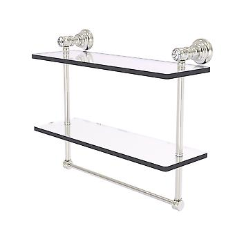 Carolina Crystal Collection 16 Inch Double Glass Shelf With Towel Bar - Satin Nickel
