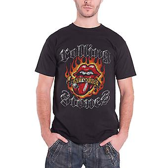 The Rolling Stones T Shirt Tattoo You Flaming Tongue Official Mens New Black