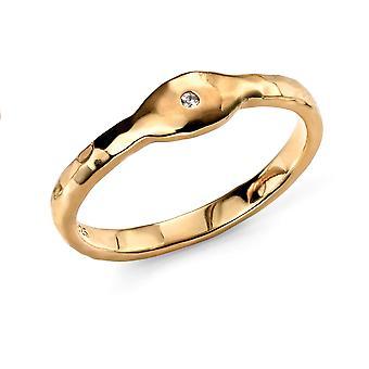 Elementos plata mujeres 925 plata esterlina oro chapado zirconia martillado acabado anillo de apilamiento