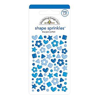 Doodlebug Diseño Azul Jean Confeti Forma Sprinkles
