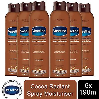 6x of 190ml Vaseline Intensive Care Spray Moisturizer,Cocoa Radiant For Dry Skin