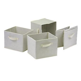Capri Set di 4 cestini in tessuto beige pieghevoli