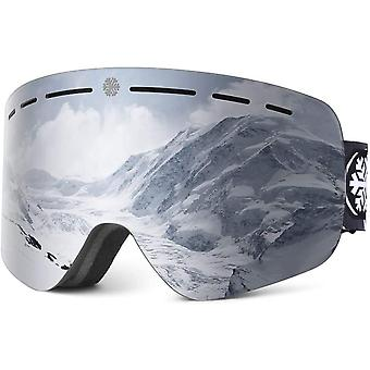 Snowledge Ski Goggles with Frameless Cylindrical Lenses for Men Women
