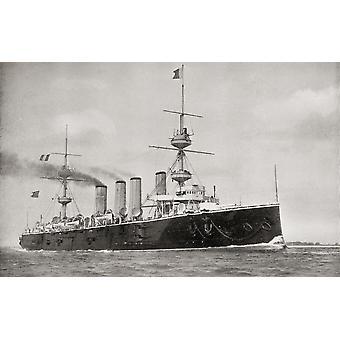 HMS voimakas alus voimakas luokan panssariristeilijä Kuninkaallisen laivaston kirja Etelä-Afrikasta ja Transvaal sota on Louis Creswicke julkaistu 1900 PosterPrint