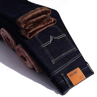 Winter Thermal Warm Flannel Stretch Jeans, Spodnie polarowe męskie, Straight Flocking