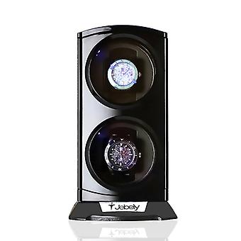Black Double Watch Winder For Automatic Watches, Box Jewelry Display Collector