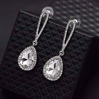 14K gold plated evening splendor austrian crystal drop earrings for woman in three elegant colors