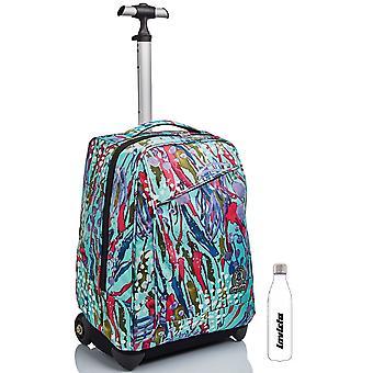 Skolkit - TROLLEY Invicta 2 in 1 med axelremmar för användning av ryggsäck + vattenflaska - Abstrakt djungel
