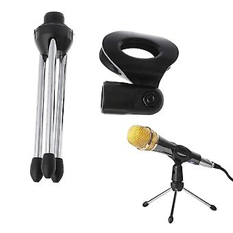 Folding Adjustable Desktop Handheld Mic Microphone Clip Holder Stand Tripod
