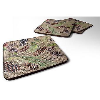 Caroline'S Treasures 8735Fc Pine Cones Foam Coasters (Set Of 4), 3.5 H X 3.5 W, Multicolor