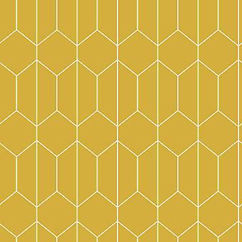 Lineær geometrisk tapet Okker Arthouse 909701