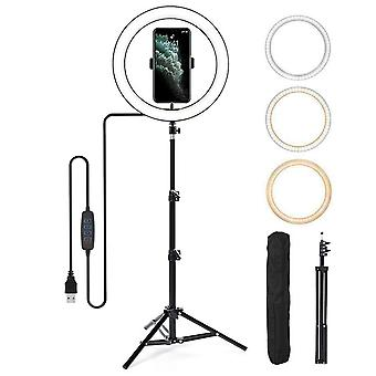 Selfie Flash Dimmable 12'' LED Ring Light With Tripod Stand Phone Holder & Bag