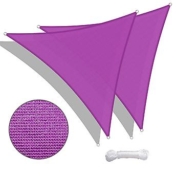Yescom 2 Pack 11 Ft 97% UV Block Triangle Sun Shade Sail Canopy Cover Net Outdoor Deck