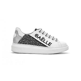 Women's Sneakers With Zeppa Gaëlle Ecopelle White/ Black Ds21ge04 Gbds2256