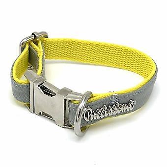Gray & Yellow Leather Collar