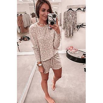 Pink Fashion Print Pocket Drawstring Short Pajama Set