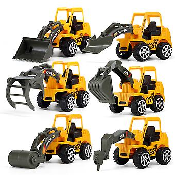 6pcs/lote Mini Engineering Car Escavadeira Bulldozer Toy Modelo de Carro Infantil