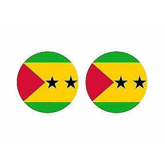 2x stick sticker round cocarde flag sao tome and principle