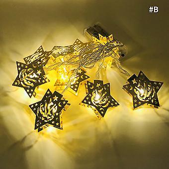 10LED Moon Star zamek Led Light String Eid Mubarak Ramadan Dekoracja do domu Hajj Ramadan Kareem Eid Al Adha EID latarnia prezent