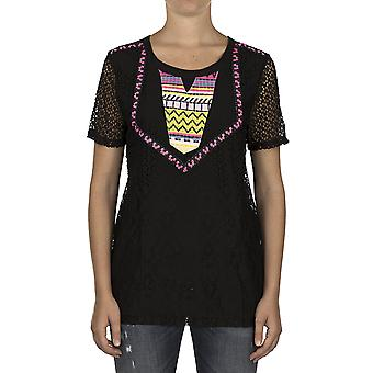 Custo Barcelona Women T-shirt Karim Tee Black Multicolor