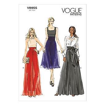 Vogue sy mønster 8955 savner bredt ben bukser størrelse 6-14 A5 uncut