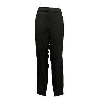 Susan Graver Leggings Plus Graver Faux Suede With Pockets Black A384275
