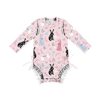 Swimsuit european fashion outdoor girls' long-sleeved one-piece for baby