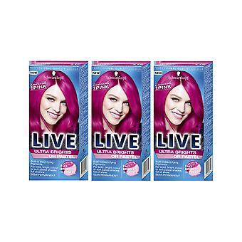 Schwarzkopf Ultra Brights 093 chockerande rosa semi-permanent färg hårfärgningsmedel x 3
