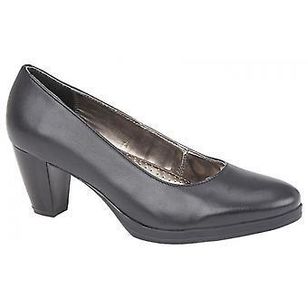 Mod Comfys Julietta Ladies Leather Court Shoes Black