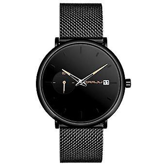 SUPBRO Ultra thin men's watches with minimalist black quartz with black mesh strap(4)