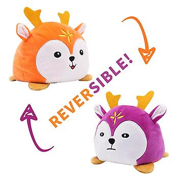 Flip animal boneca dupla-sided expressão flip animal desenho animado boneca presente