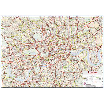 Enorm central London gata väggkarta (Laminerad)