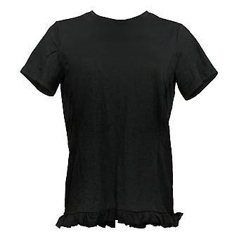 أي شخص المرأة الأعلى (XXS) كرينكل متماسكة قميص ث / كشكشة هيم الأسود A353784