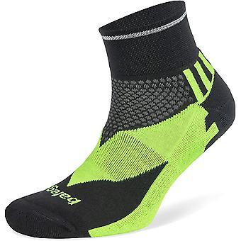 Balega Enduro Unisex Reflective Quarter Running Socks, Black/Neon Green