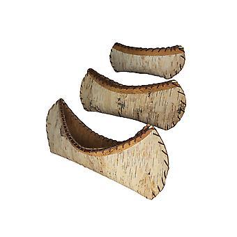 Ensemble de 3 rustic Birch Bark Décoratif Sculptures de canoë en bois Forest Lodge Décor