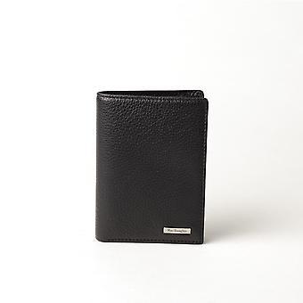 Suporte de cartão de couro preto 3 persianas