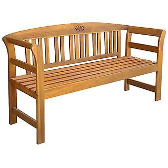 vidaXL banco de jardín con almohadilla de madera maciza de 157 cm acacia