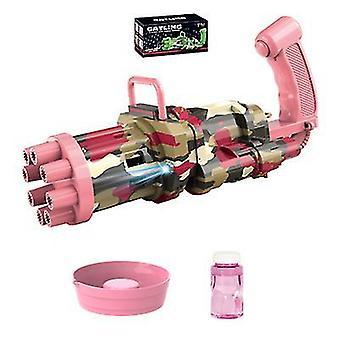 Rosa automatische Gatling Blase Pistole Sommer Seifenblase Maschine Kinder Outdoor Spielzeug az22121