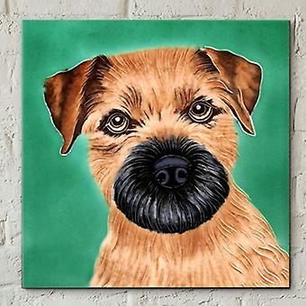 Kakel 8x8 Border Terrier av C Varley Wall Art