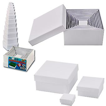12 Square White Board Stacking Boxes | Cardboard Gift Boxes