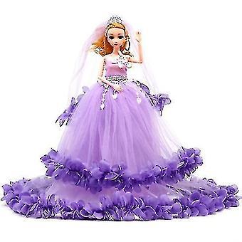 O papusa intr-o rochie de mireasa si un voal, o fetita de jucărie Printesa Lolita Cadou Set (Purple)