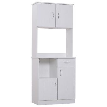 HOMCOM Kitchen Cupboard Wardrobe with Doors Cabinet Shelves Drawer Open Countertop Storage Organiser for Living Room, Entrance, White